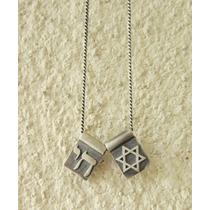 Escapulário Judaico * Estrela De Davi * Chai - Prata .925