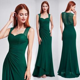 Fantastico Vestido Fiesta Madrina Largo Verde Importado