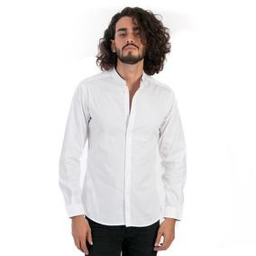Camisa De Cuello Mao Color Blanco Para Hombre Marca Rootop