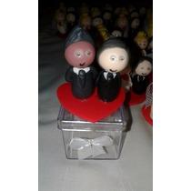 Noivinhos De Casamento Biscuit 30 Ud Caixinha De Acrílico