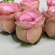 25 Forminhas Para Doces Flor Botao De Rosa Rustico- Luxo