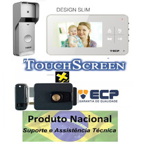 Kit Vídeo Porteiro Eletrônico Ecp Color Lcd + Fechadura Elet