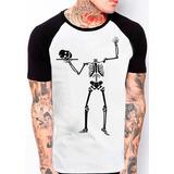 Camiseta Raglan Caveira Esqueleto Sem Cabeça Bandeja 310 39ece792a82