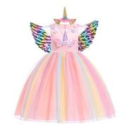 Vestido Festa Infantil Unicórnio Arco-íris Rosa Chifre Asas