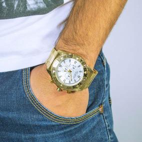Relógio Masculino Original Atlantis Dourado Grande + Frete G