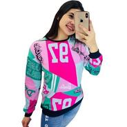 Blusa Moletom Coleção Barbie Multicolors Planet Girls