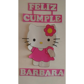 Cartel Feliz Cumple Kitty En Goma Eva