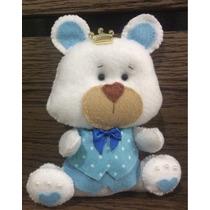 Urso Branco E Azul Principe Feltro Cha De Bebe Decoracao