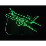 Abajur Em Acrilico Iluminado Led - Avião Bandeirante