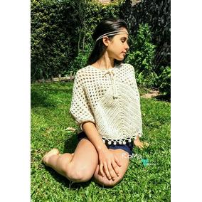 Blusa Poncho Tejido Crochet Playa