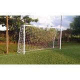 Par Rede Gol Futebol Society Suiço 5mts Fio 2mm Proteção Uv