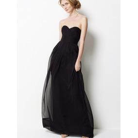 Vestido Negro Largo De Noche, Escote Corazón