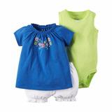 Carters Conjunto Verano 3 Piezas Nena Bebe Body Short Tunica
