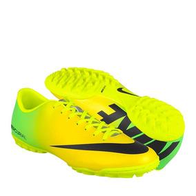 Tenis De Fútbol Nike Para Hombre Simipiel Amarillo Con Negro