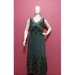 Vestido Longo Plus Size Com Renda Em Detalhes 100% Algodã