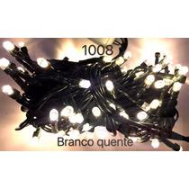 Pisca 100 Lâmpadas Led 8 Funções Morno Com Fio Verde