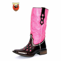 Bota Feminina Texana Tucson - Cafe/pink Tp548