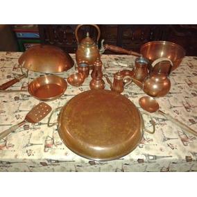 Lote Sarten Cocina Juego Bronce Antiguo Paellera Perol Etc