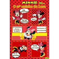 50 Convites Minie Vermelha Personalizado (todos Os Temas)