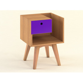 Mesa De Luz Nórdica Madera/violeta Jazmín - 0,45x0,40x0,66