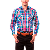 Camisa Caballero Wrangler Azul Cuadros 51pdhs711