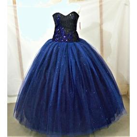 Vestido De Quince Xv Años Nuevo Azul Rey Con Negro