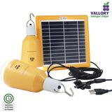 Kit Com Lampada E Placa Solar Casa Sítio Lanterna Emergência