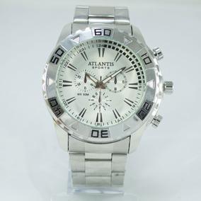 Relógio Masculino Atlantis Original Homem Grande Prata Aço