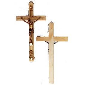 20 Cruz Madera 23 Cms. Con Cristo Metal Y Medalla San Benito