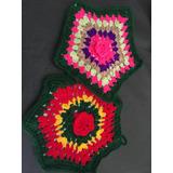 Agarraderas Tejidas Crochet Artesanal Forradas