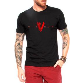Camiseta Vikings Masculina Preta Série Seriado Camisa
