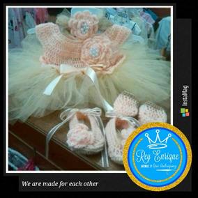 Vestido Tutu Princesa Bebe Niña 0-3 Meses Tejido Crochet Tul