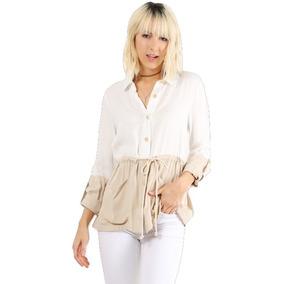 Camisa Combo De Dama Manga Larga De Color Beige Y Blanco