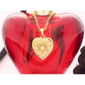 Colar Pingente Relicário Coração Folheado Ouro 18k Pequeno
