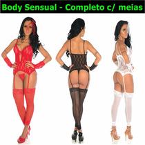 Lingerie Sensual Espartilho Sexy Cinta Meia Noiva Body Luva