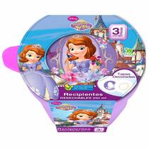 Recipiente Redondo Princesa Sofia 250 Ml 3 Pzas Disney 82075