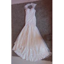 Vestido De Noiva Semi Sereia, Drapeado Em Renda E Organza