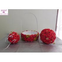 Kit Buquê De Noiva+ Buquê Porta Aliança +cesta Para Florista