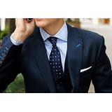Ternos Masculinos Slim Fit Terno Azul Casamento + Gravata