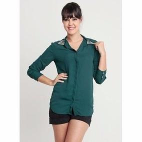 Camisa Musseline Verde Escuro Pedraria Preco Promocional