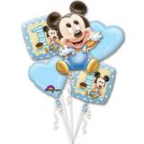 Primer Cumpleaños De Mickey 1er Ramo De 5 Glo + Envio Gratis