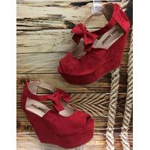 Zapato Sandalia Plataforma Color Rojo Para Mujeres Damas