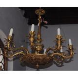 Araña De Bronce Antigua Francesa 8 Luces Lampara C/ Flores