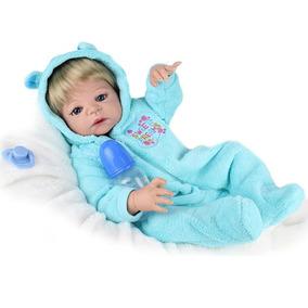 Boneca Reborn Menino Silicone Boneco Loiro Olho Azul