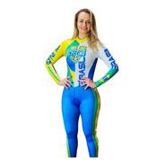 Macacão Ciclismo Feminino Brasil Azul M L   Original