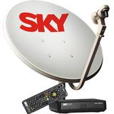 Kit Completo Antena Sky 60cm + Receptor Sky Pré Pago Flex Hd