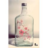 Botella Botellon Vidrio Ciruelo Flores Estampada Pintada