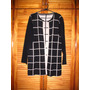 Hermoso Saco Saquito Sweater Abierto Negro Y Beige A Cuadros
