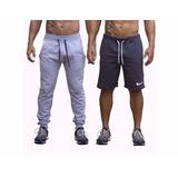 Kit Calça + Short Masculino Nike Moletom Fitness Esporte Gym