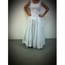 Vestido Noiva Tradicional Branco Bordado Com Rechilie Prata